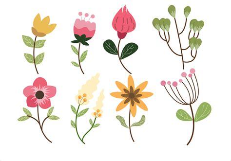 flower clipart flower leaf clipart set vector illustration