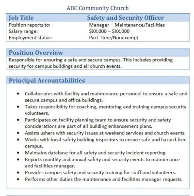 security officer duties and responsibilities 45 free downloadable sample church job descriptions