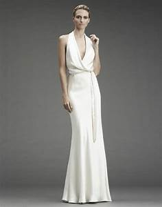 slinky silk halter wedding dress with deep v halter and With slinky wedding dress