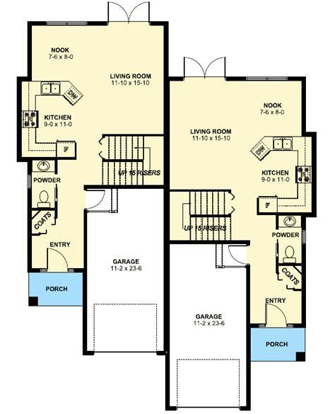 duplex house plan   small narrow lot mg