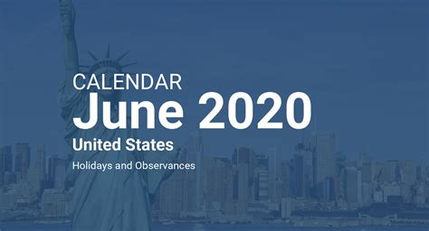 june  calendar united states