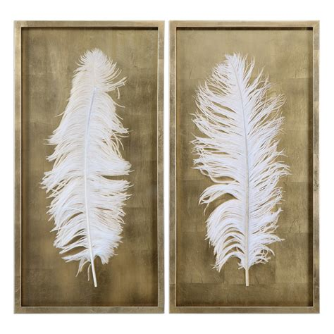 white feathers shadow box wall decor set of 2