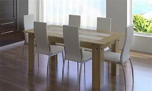 Salle a manger complete 6 chaises simili cuir blanc ou noir for Deco cuisine avec chaise cuir blanc salle a manger