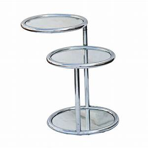 3 circle chrome and glass tiered swivel coffee table ebay for Three tier glass coffee table