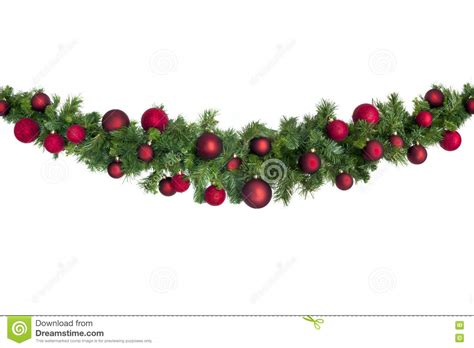 christmas garland with red baubles stock photo image