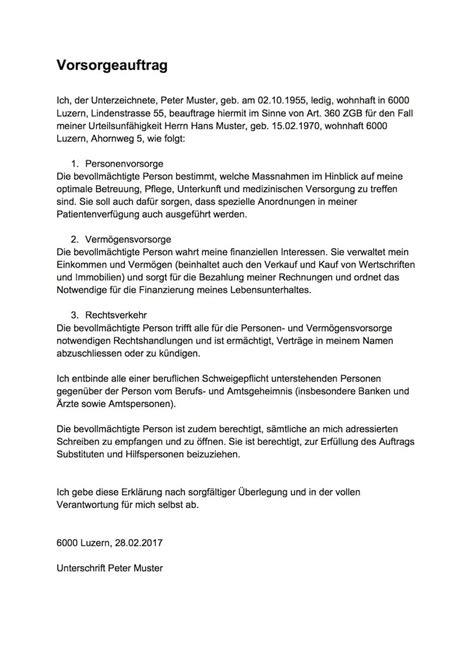 vorsorgeauftrag muster vorlage schweiz gratis word