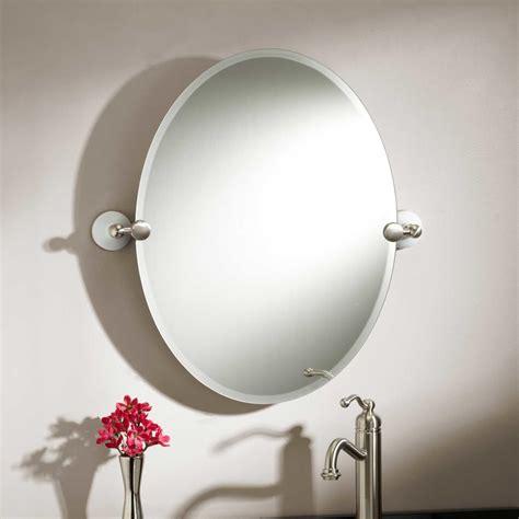 Brushed Nickel Bathroom Mirror by Oval Bathroom Mirrors Brushed Nickel Best Decor Things