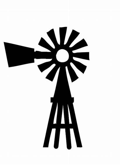 Windmill Farm Clipart Silhouette Drawing Clip Barn