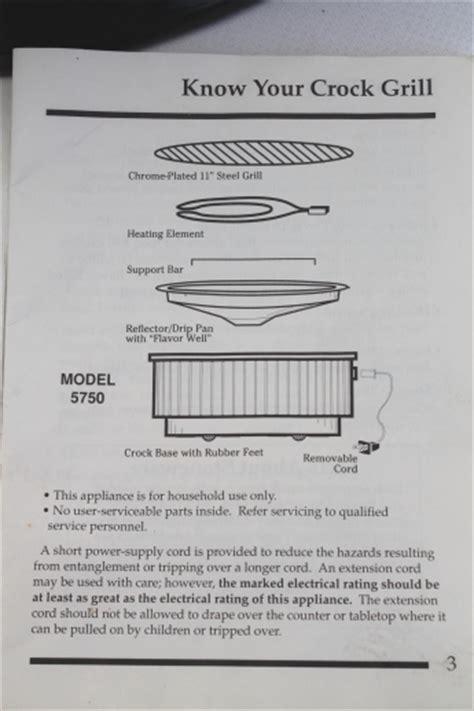 rival crock grill model   instructions manual