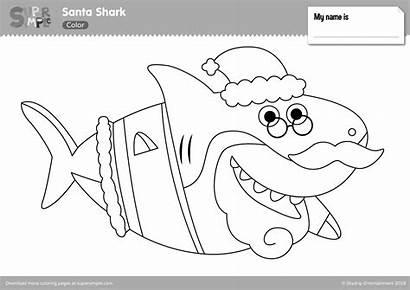 Shark Santa Coloring Pages Printables Sharks Elf