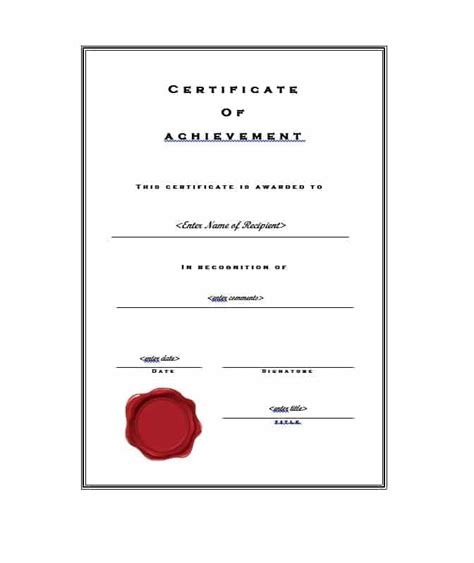 Certificate Of Accomplishment Template Free by 40 Great Certificate Of Achievement Templates Free