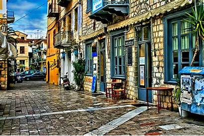 Street Greece Urban Nafplio Downtown Town Infrastructure