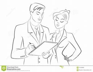 Business People Meeting. Outline Sketch. Isolated On A ...