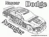 Coloring Nascar Race Dodge Avenger Printable Cars Batman Children Disney Neverland Tinkerbell Popular Coloringhome sketch template