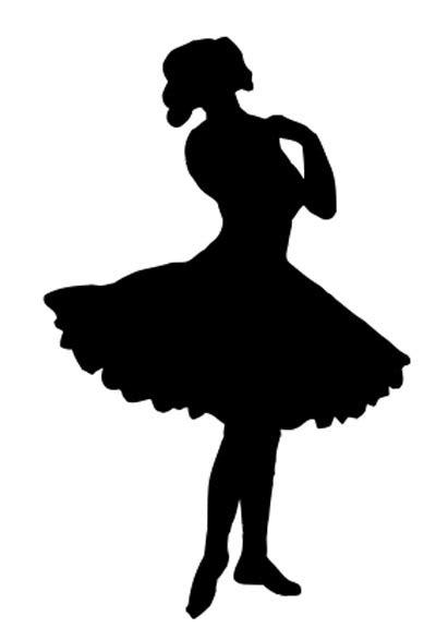 vintage clip art pretty ballerina silhouette