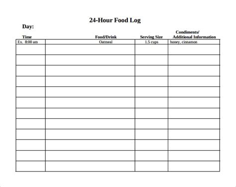sample printable food log templates
