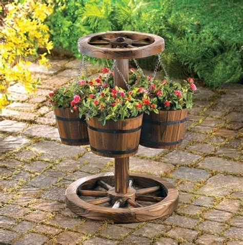 western decor wood barrel planter eclectic outdoor