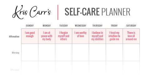 Self Care Plan Template by My Self Care Planner