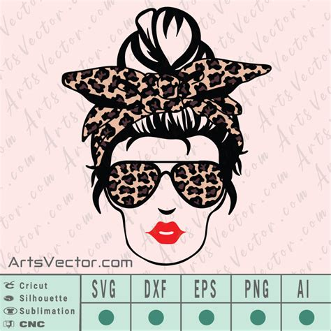 Copy of mom house png, mom life, messy bun red leopard bandana glasses, dtg printing, sublimationmom house png, mom life cheetah png file, sublimation. Messy Bun Leopard Layered SVG EPS DXF PNG AI Instant Download