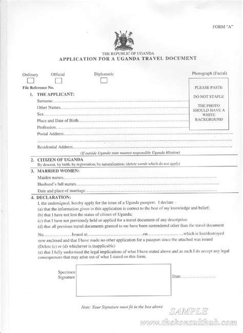 uganda passport application forms form