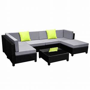 Rattan Lounge Set : buy 6 pcs black wicker rattan 5 seater outdoor lounge set grey online at ~ Orissabook.com Haus und Dekorationen
