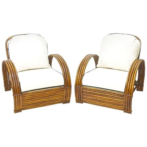 rattan lounge chairs pair with ottoman at 1stdibs
