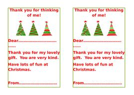 Christmas Gift Thankyou Notes By Alpineangel Teaching