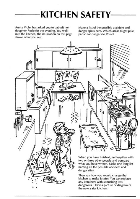 worksheets on health and safety in the kitchen safety in the home worksheets kitchen search