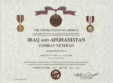 Iraq and Afghanistan Veteran certificate