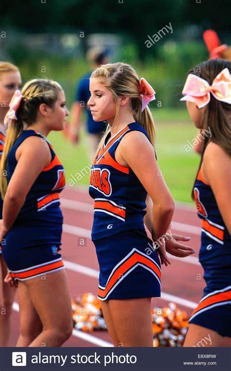 junior varsity high school female cheerleaders stock photo