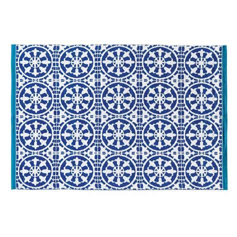 tapis dexterieur bleu  blanc    cm santorini