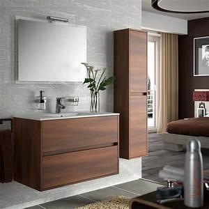 Meuble Salle De Bain 90 : meuble salle de bain 90 cm 2 tiroirs vasque porcelaine acacia aliso ~ Teatrodelosmanantiales.com Idées de Décoration