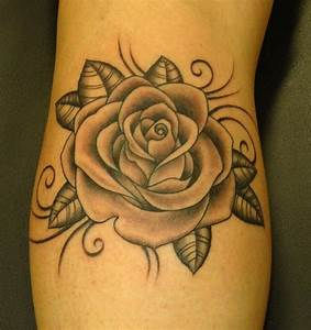 Black And Grey Rose Tattoos | Rose Flaming Heart Tattoos ...