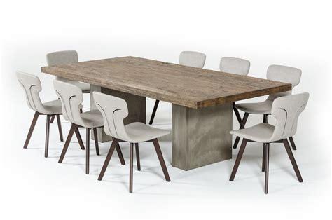 modrest renzo modern oak concrete dining table