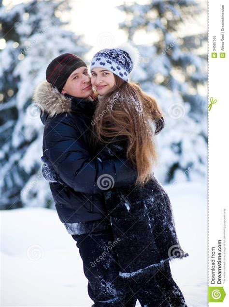 young couple   winter park royalty  stock image