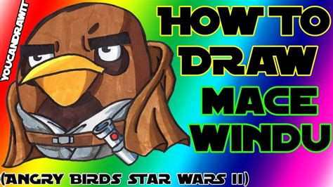 draw mace windu bird  angry birds star wars