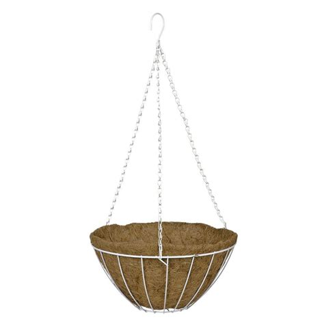 home depot hanging ls cobraco 14 in white grower 39 s style metal hanging basket