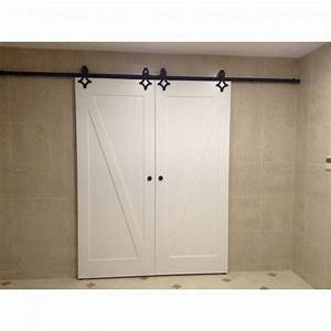 winsoon 4 18ft vintage sliding barn door hardware double With barn door track length