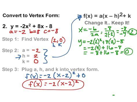 how to get a quadratic equation into vertex form tessshebaylo