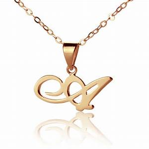 custom letter necklace 18k rose gold plated With rose gold letter pendant necklace