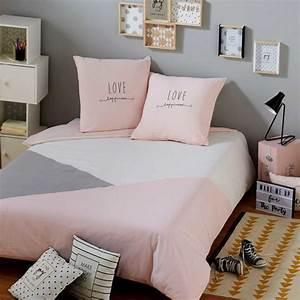 Parure de lit en coton gris et rose 220x240cm joy for Tapis chambre bébé avec housse couette grise et rose