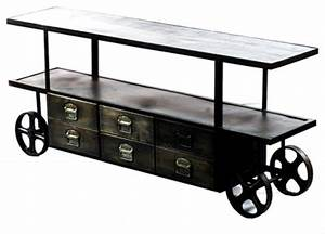 Shop Houzz ARTeFAC Industrial Media Stand On Wheels With