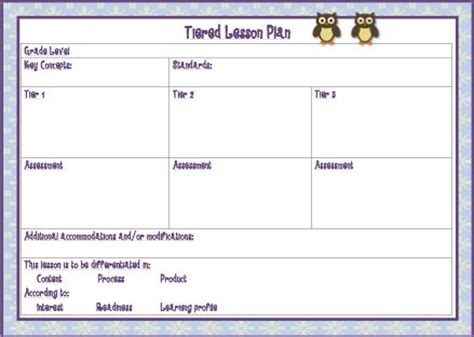 Tiered Planning Template by 1000 Images About Differentiated Instruction On Pinterest