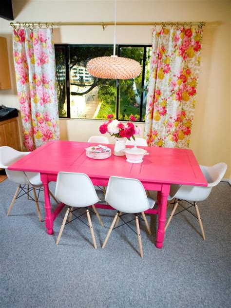 hot pink dining table  floral curtains hgtv