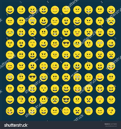 set yellow emoticons icon pack emoji stock vector