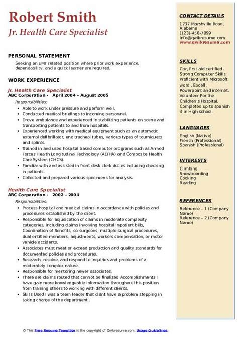 Find your new insurance consultant job to start making more money. Health Care Specialist Resume Samples | QwikResume