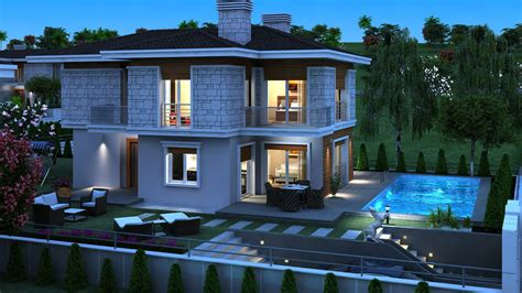 design a mansion wallpaper pools 3d graphics mansion night time building 3840x2160