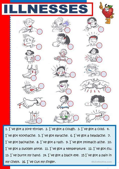 illnesses worksheet  esl printable worksheets