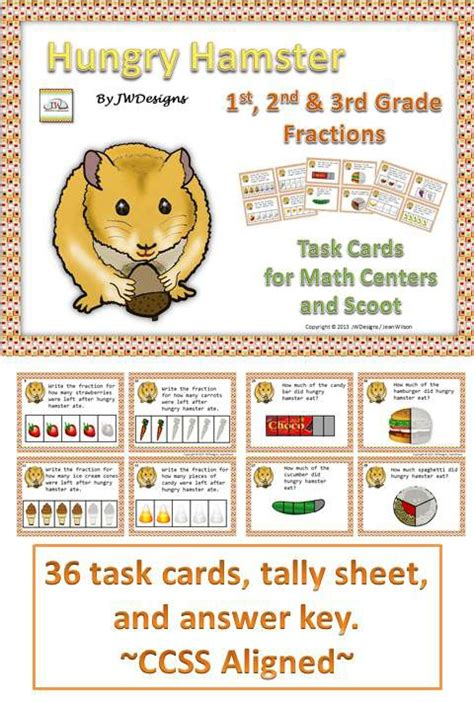 Hamster food hamster habitat hamster care hamster treats hamster house hamster stuff hamster running routine syrian hamster cute hamsters dwarf larger cover check facts food. Illustrated FRACTION Task Cards, fractions for beginners | Fractions, Homeschool math, Task cards