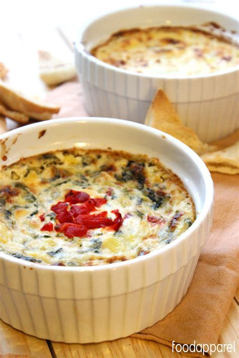 Hot Cheesy Spinach and Roasted Red Pepper Artichoke Dip